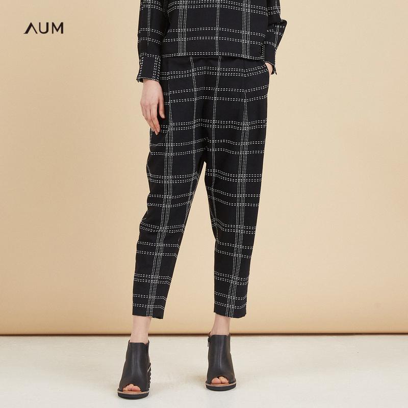 AUM噢姆玛丝菲尔2018秋季新款黑白格纹九分直筒裤宽松女士休闲裤