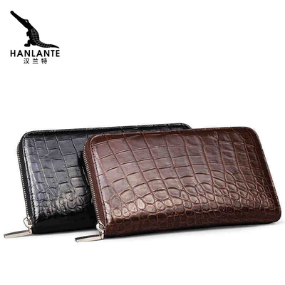 汉兰特泰国鳄鱼皮钱包男长款手工皮夹真皮正品潮手工中年男士手包