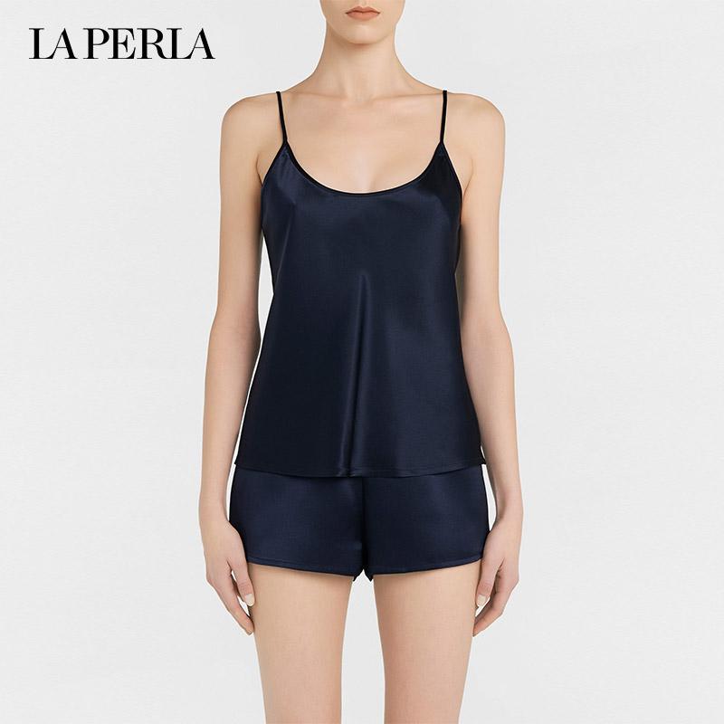 LA PERLA女士SILK系列真丝绸缎舒适高贵性感吊带背心式睡衣上衣