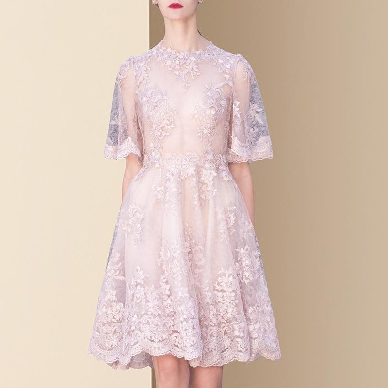 夏装2018新款女装名媛气质网纱重工刺绣连衣裙修身中长款a字裙仙