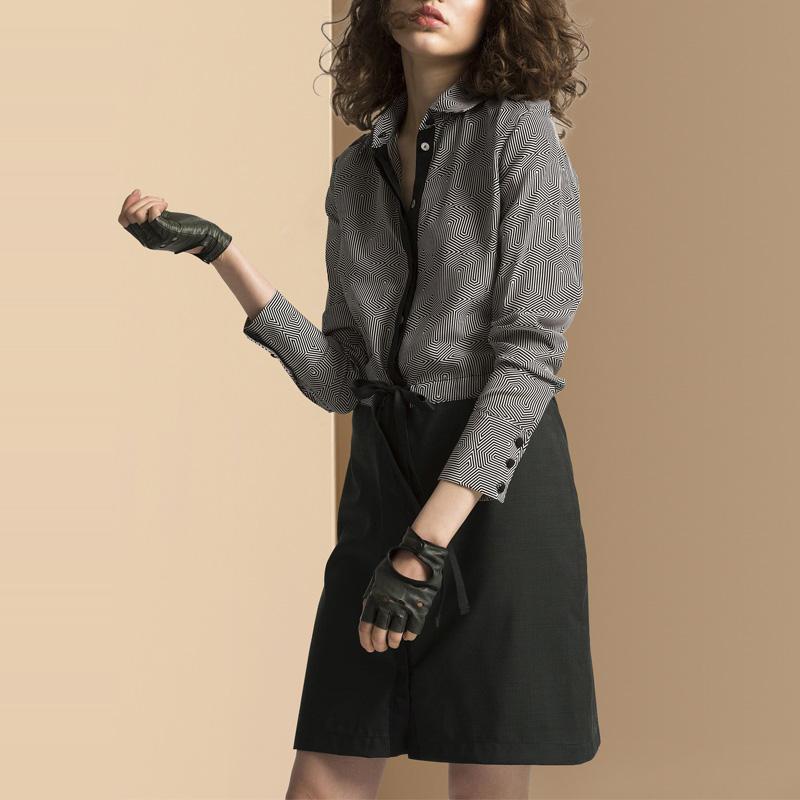 秋装女2018新款时尚撞色拼接长袖连衣裙中长款欧美收腰显瘦衬衫裙