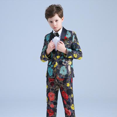 Children's catwalk evening dress boys flower costumes piano show host suit suit