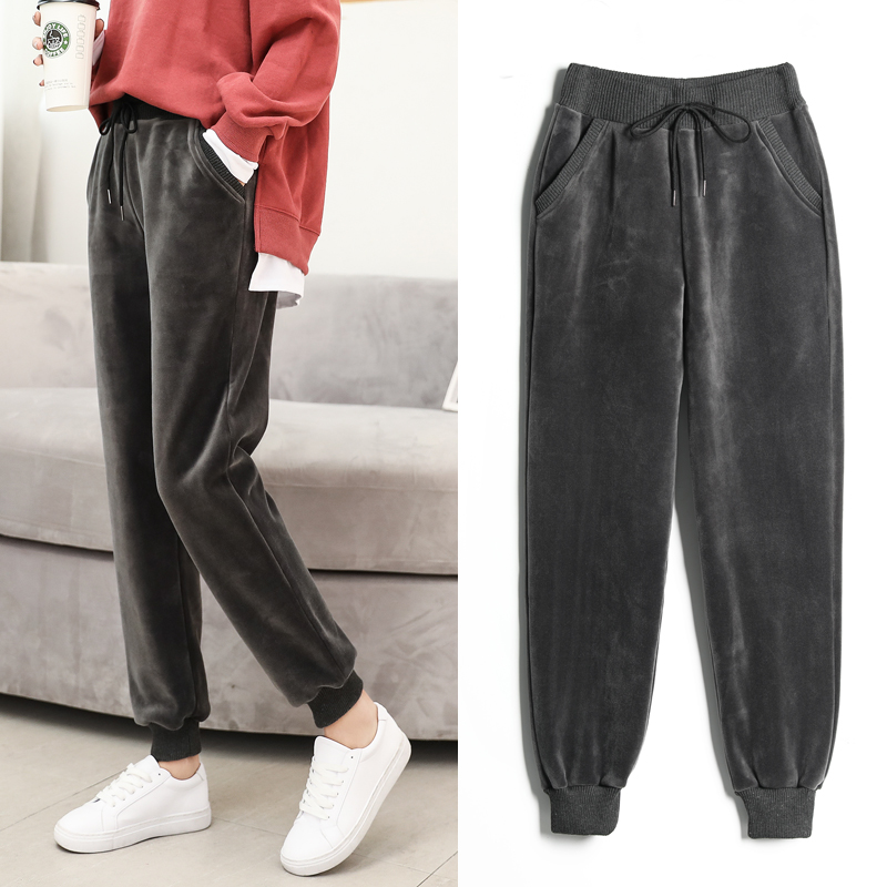 Autumn and winter plus velvet padded sports pants female gold velvet Korean loose students Wei pants feet casual harem pants