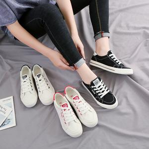 人本帆布鞋女时尚百搭小黑鞋学生韩街拍小白鞋女低帮平底休闲板鞋