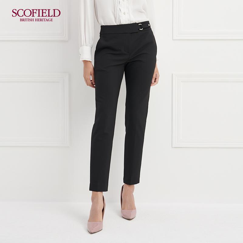 SCOFIELD女装 2018新款时尚通勤风中腰直筒修身长裤 SFTC88104L