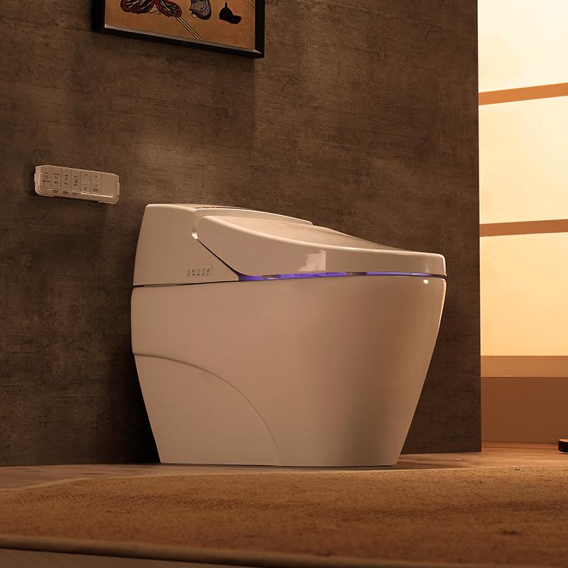原野全自动感应翻盖智能马桶一体即热式家用电动遥控冲水坐便器