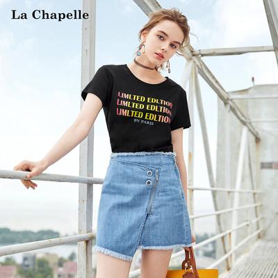 黑色t恤女短袖拉夏贝尔2018夏季新款韩版宽松情侣装彩虹字母上衣