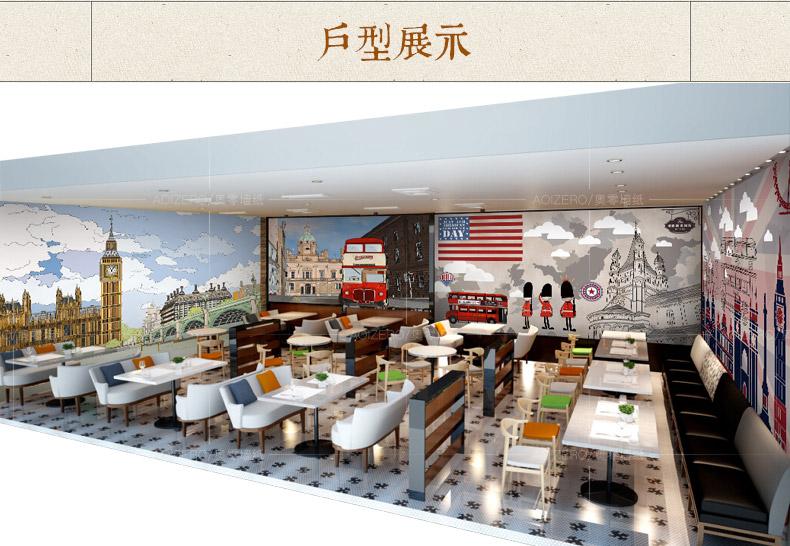 欧美式复古怀旧壁纸手绘英伦客厅电视背景墙纸奶茶咖啡厅大型壁画