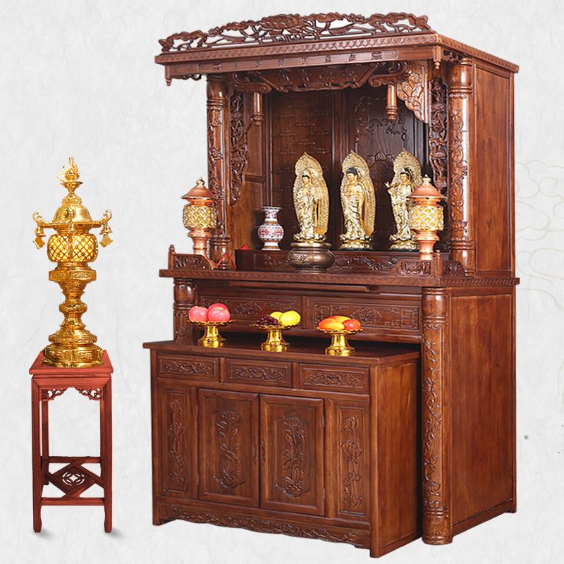 Buddhist niche Buddha cabinet home Buddhist all-solid wood Goddess ...