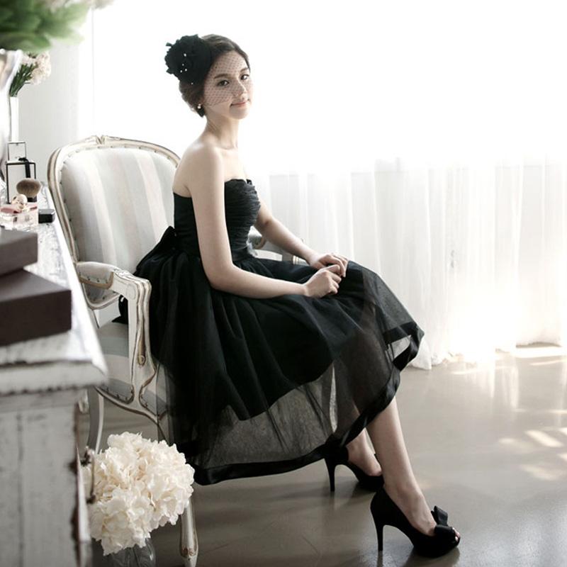 Вечерние платья 2015 новый специальное предложение оригинал корейский мода простой стиль черный атмосфере сладкие невесты мини-платье