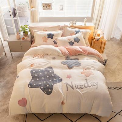 冬季珊瑚绒床上用品四件套法兰绒床单被套床笠法莱绒双面绒少女心