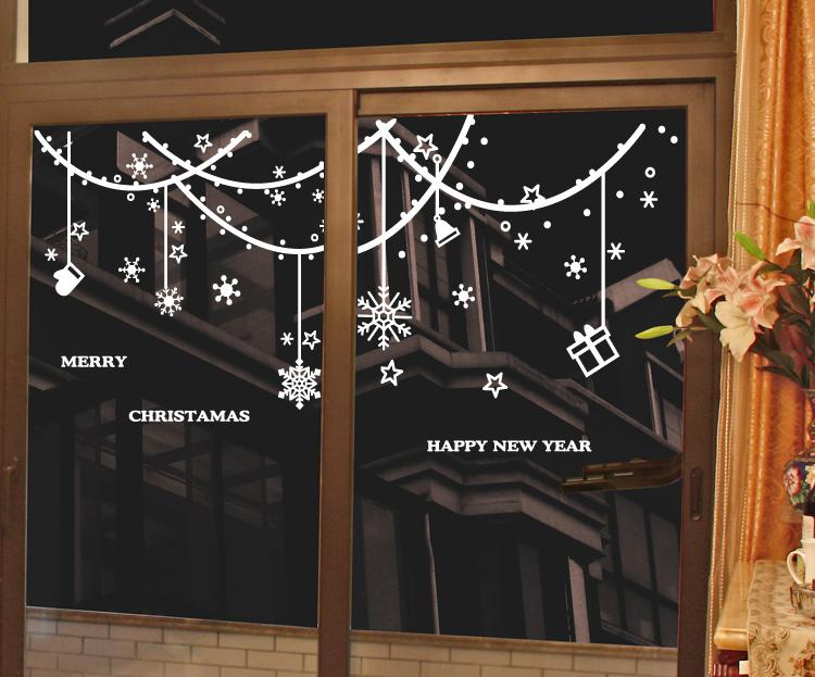 新年圣诞节墙贴画_新年圣诞节墙贴画商场商店玻璃门