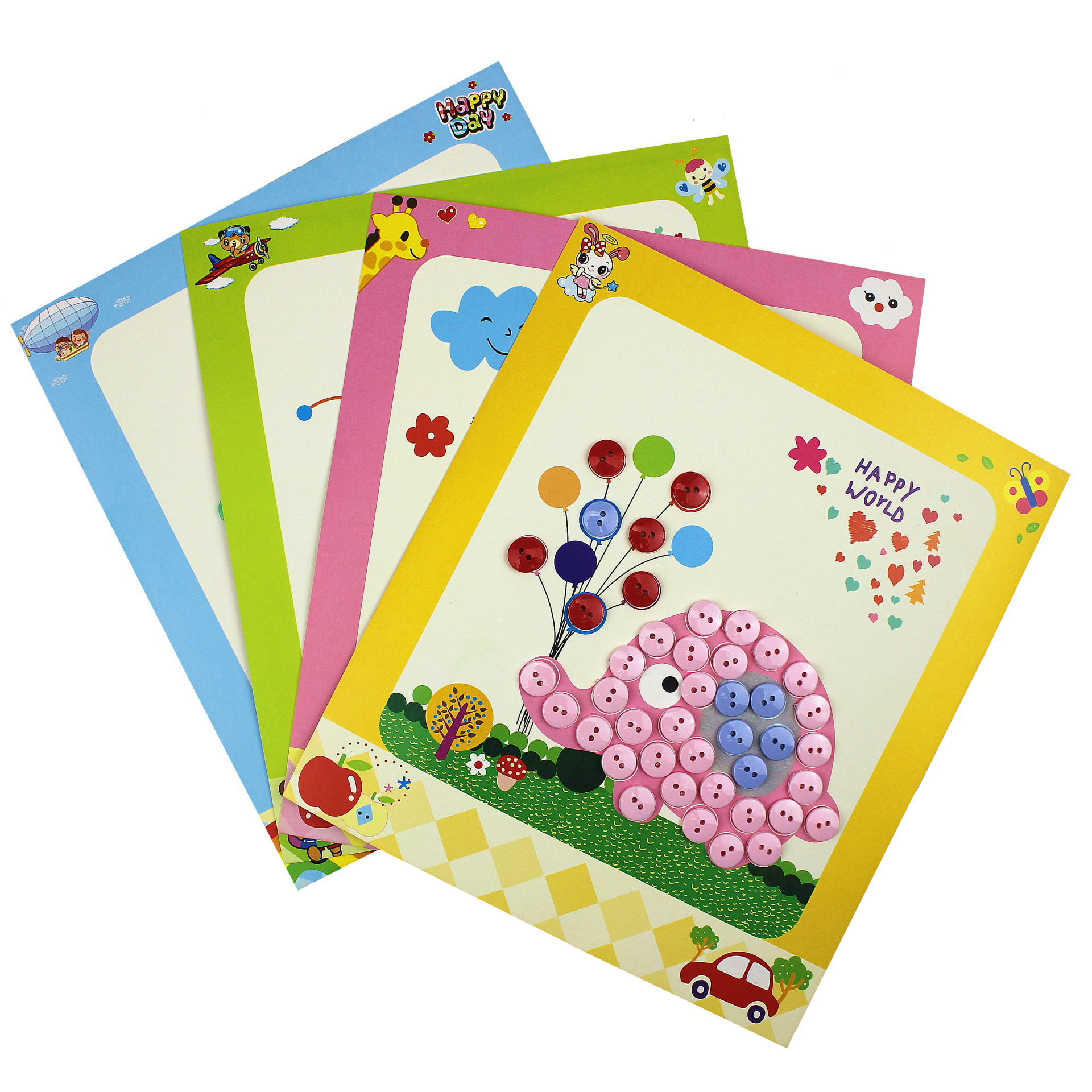儿童纽扣画 幼儿园手工制作diy粘贴画材料包 益智玩具装饰扣子画