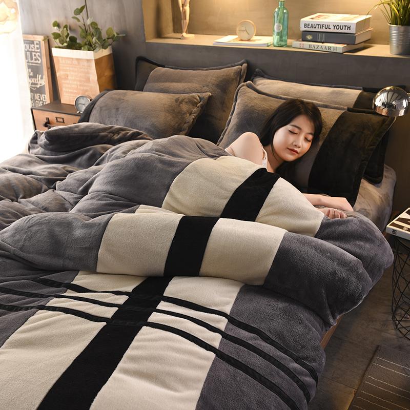 双面法兰绒加厚冬季ins风床上用品四件套法莱珊瑚绒网红床单被套4