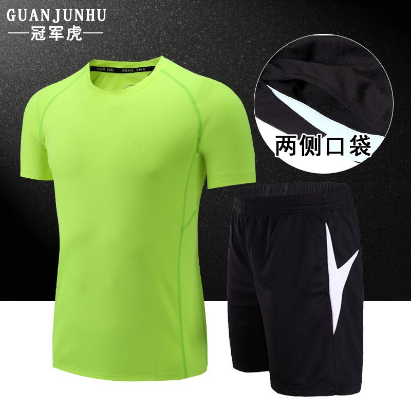 运动套装男女运动服夏季跑步健身速干透气短袖T恤运动短裤五分裤产品展示图1