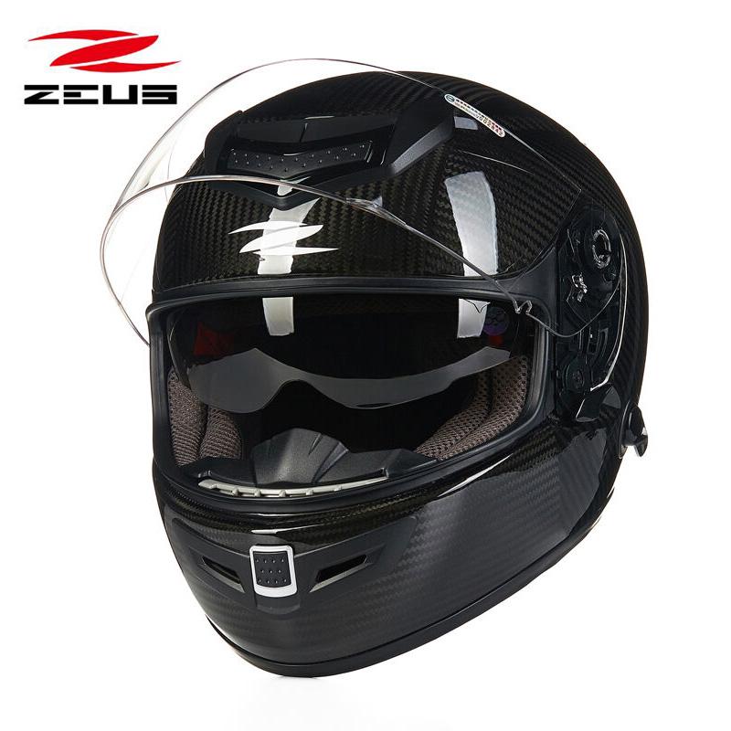 瑞狮摩托车头盔男双镜片碳纤维赛车机车全盔冬四季全覆式轻便跑盔