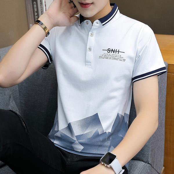 白色 现货 品质男士上衣T恤短袖翻领修身2019夏新款印花男士T恤9703#