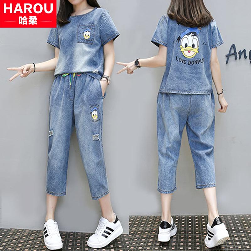 牛仔套装薄少女2018新款夏装初中高中学生韩版宽松休闲短袖两件套