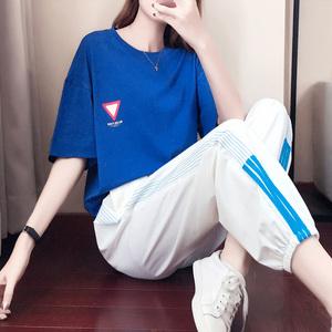 休闲运动服套装女2019春夏季新款韩版宽松时尚洋气跑步两件套夏天