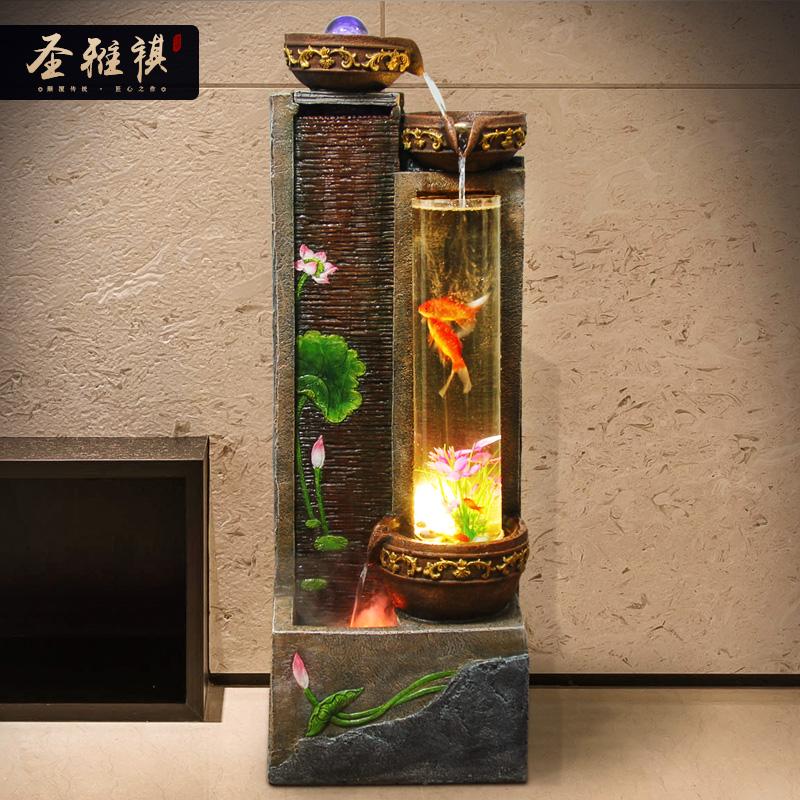 鱼缸装饰摆件家居饰品电视酒柜玄关创意摆设客厅招财假山流水喷泉