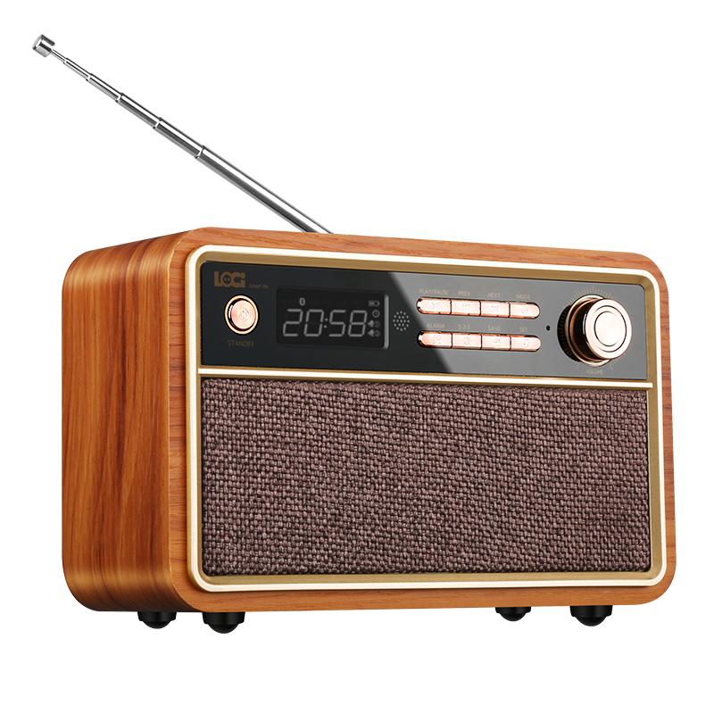 loci D29复古木质蓝牙音箱怀旧新款插卡闹钟迷你收音机无线小音响家用U盘手机电脑通用多功能播放器