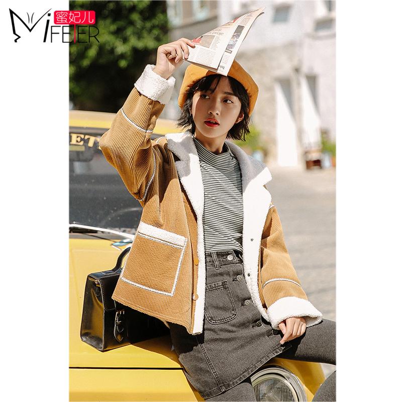 羊羔毛外套女冬季装2018新款韩版学生小个子棉服加绒加厚大衣短款