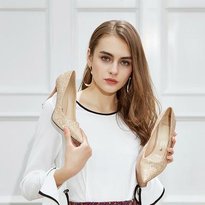 一代佳人尖头高跟鞋女细跟春款百搭2019新款春季女鞋高跟单鞋婚鞋