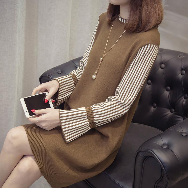 秋装新款毛衣裙韩版宽松时尚毛衣女潮冬季套头打底衫中长款针织衫