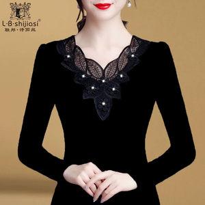 薄款/加绒 2020新款保暖黑色网纱打底衫V领大码胖MM长袖T恤上衣女