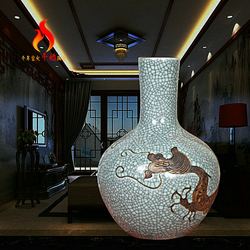 Jingdezhen ceramic vases, antique up on crackle dragon tree Chinese handicraft furnishing articles in the living room