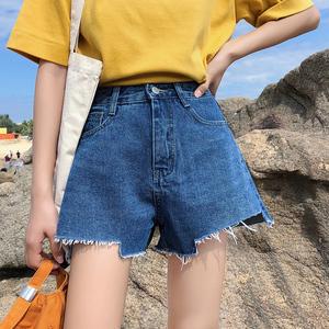 3187#牛仔短裤女高腰热裤毛边不规则个性破洞显瘦宽松阔腿裤...