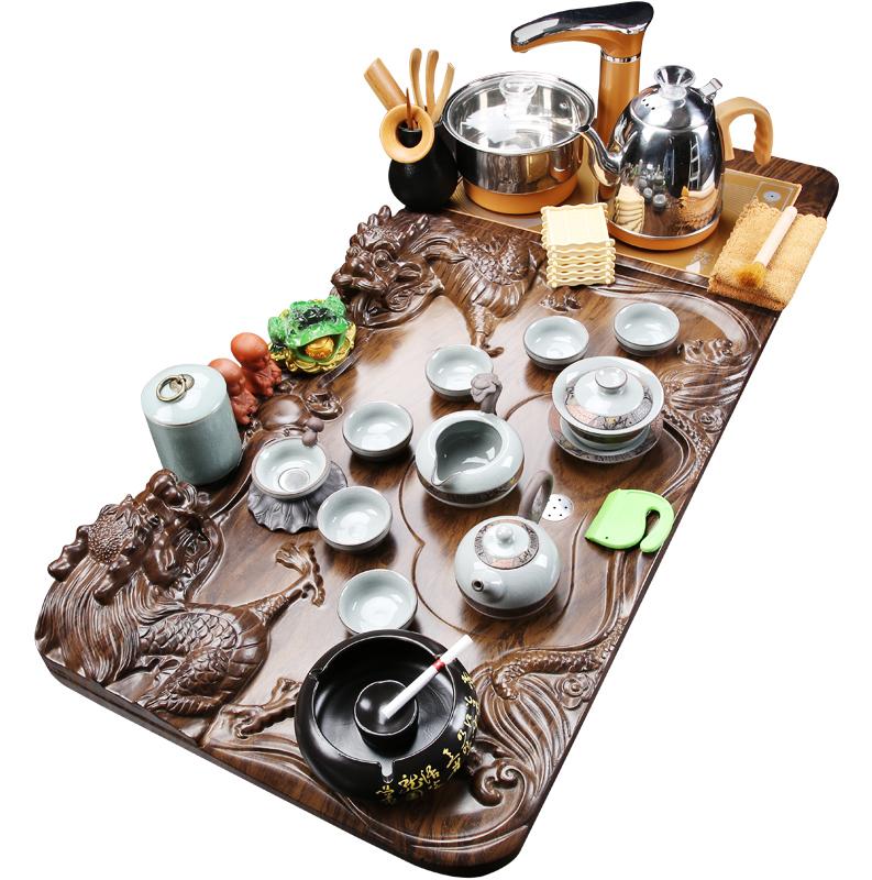 琨德紫砂茶具套装家用简约整套全自动电磁炉实木茶盘陶瓷茶壶茶杯