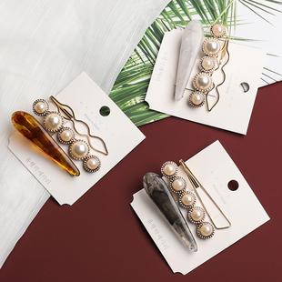 发夹女2018新款韩国珍珠网红发卡刘海碎发夹子一字夹ins头饰边夹