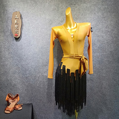 YJFY Latin Dance Dress Female Suit Liusu Dress Dance Practice Dress Latin Dance Skirt BY343