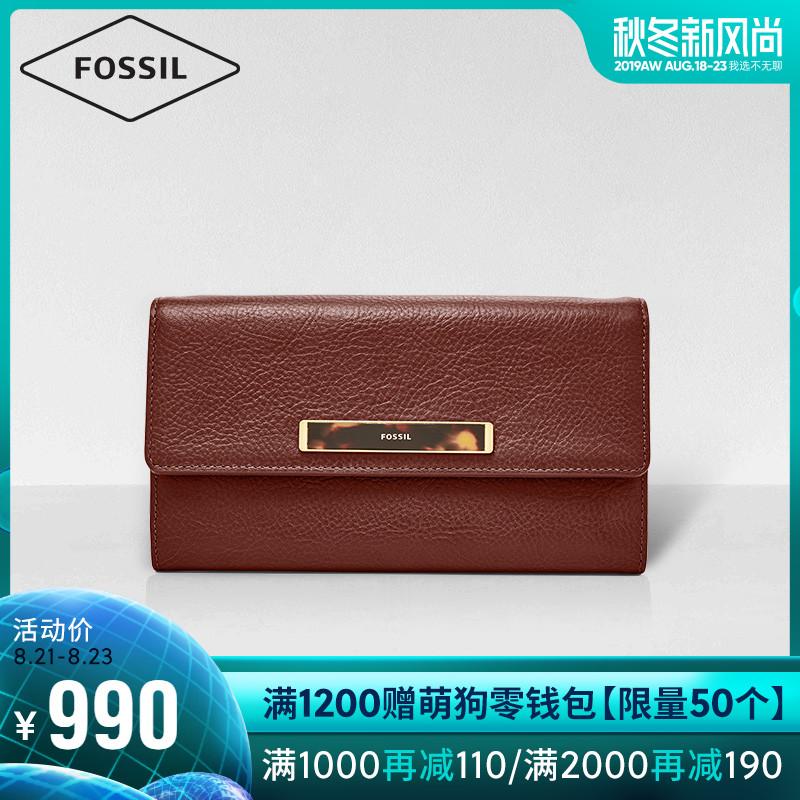 Fossil2019秋季新品欧美复古纯色牛皮女士长款钱包手拿包SL7945