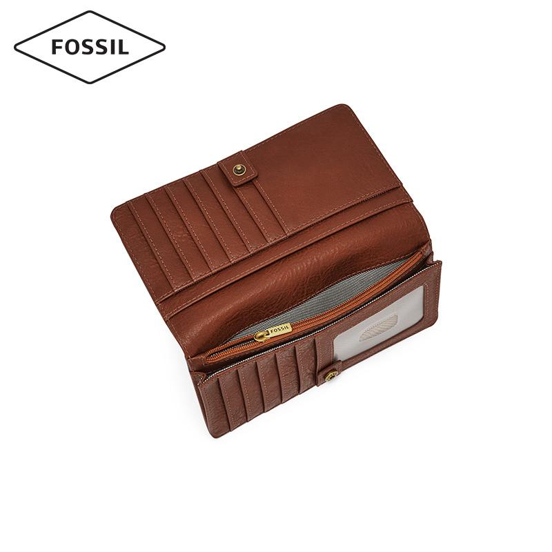 Fossil2019秋季新品搭扣式多卡位牛皮女士长款钱包手拿包SL7951
