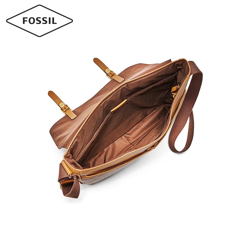 Fossil2019年春夏复古牛皮休闲通勤单肩斜挎邮差包男士MBG9429