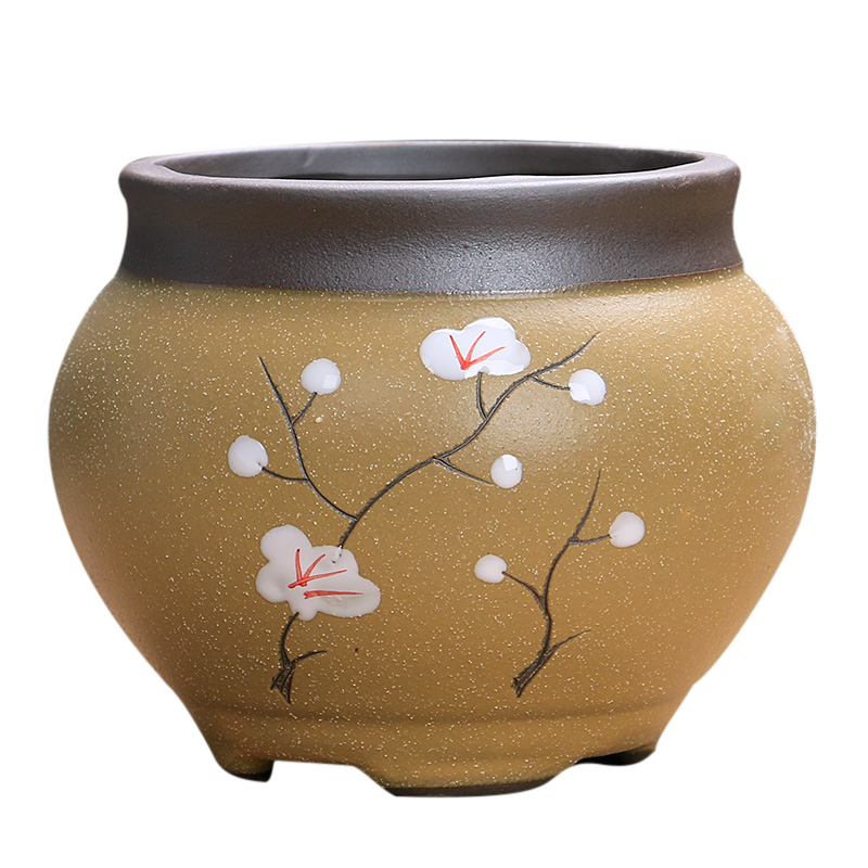The Fleshy pot ceramic large special offer a clearance breathable creative move meat meat the plants flower pot in purple large diameter