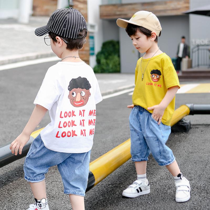 夏季男童套装短袖纯棉2019新款两件套中大童男童装潮流时尚套装男