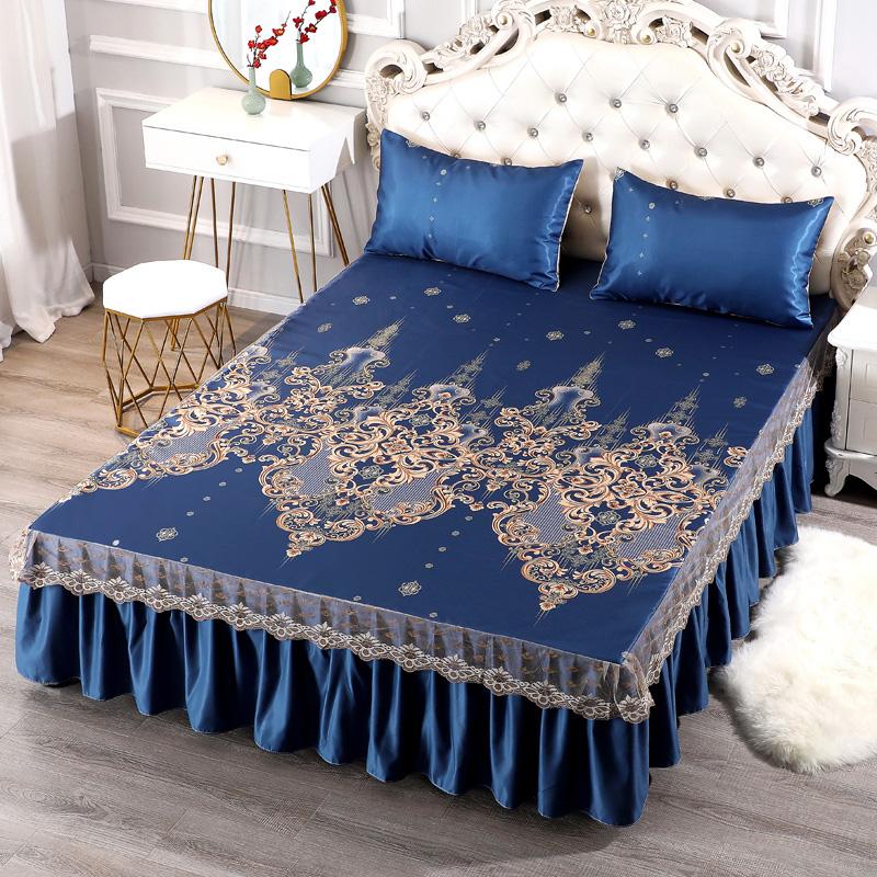 夏季凉席三件套床裙蕾丝冰丝夏凉席空调席床上用品家用可水洗机洗