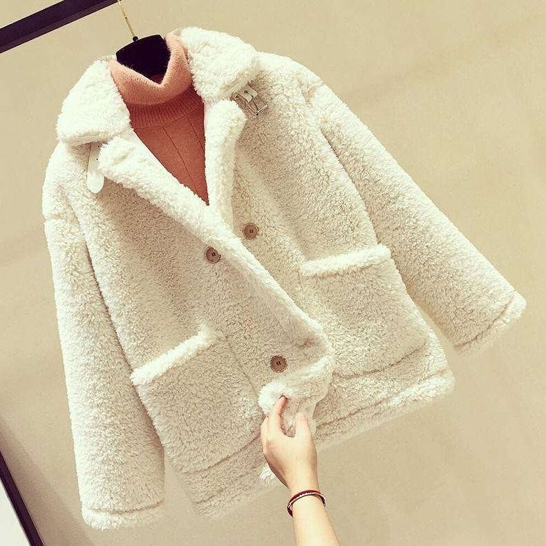 仿羊羔毛外套女短款时尚潮流皮草韩版宽松加厚羊羔绒机车服短外套