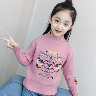 Girls sweater 2019 new style autumn and winter children's clothing pullover knitted bottoming shirt girl turtleneck plus velvet thickening