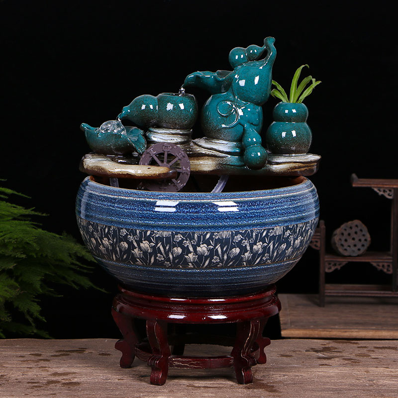 Jingdezhen ceramic aquarium water fountain household little gold fish tank large fish bowl sitting room humidifying decorative landscape