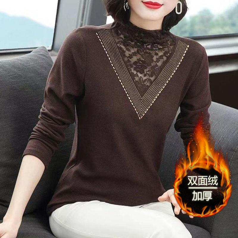 双面绒蕾丝半高领打底衫女秋冬季百搭长袖中老年妈妈洋气t恤上衣
