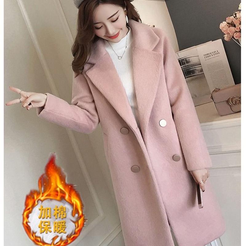 【工厂直销】加棉加厚毛呢大衣2020新款中长宽松时尚百搭呢子外套