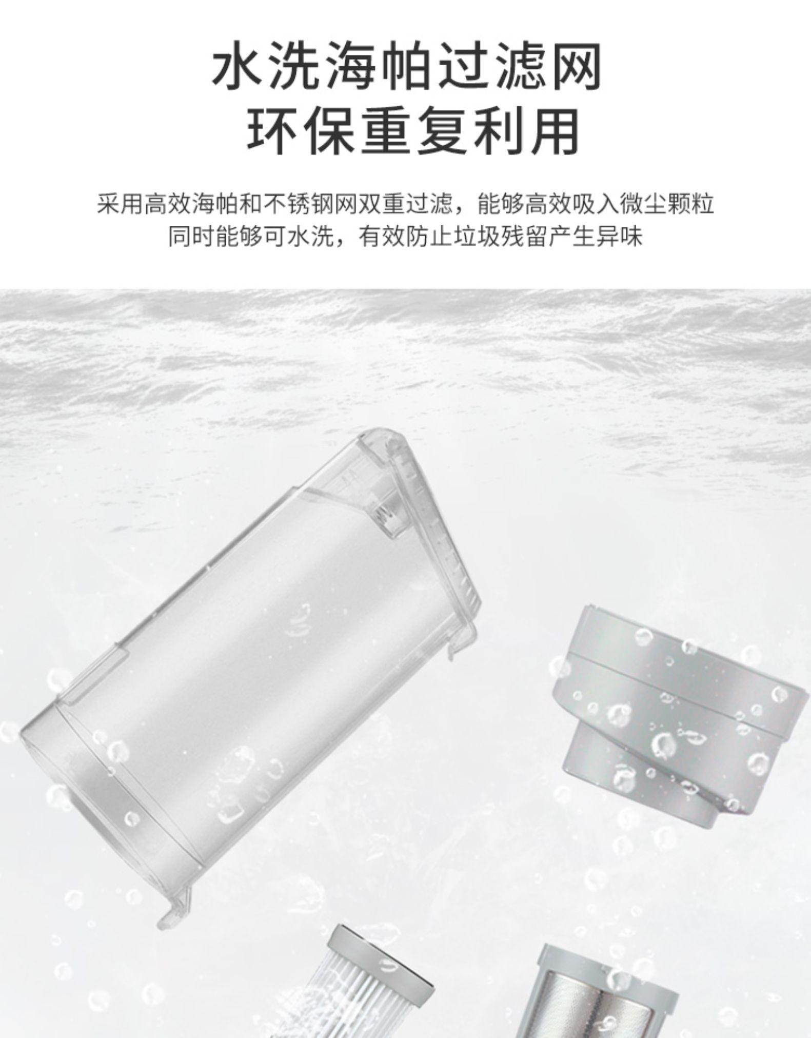 水洗海帕过滤网环保重复利用釆用高效海帕和不锈钢网双重过滤,能够高效吸入微尘颗粒同时能够可水洗,有效防止垃圾残留产生异味-推好价 | 品质生活 精选好价