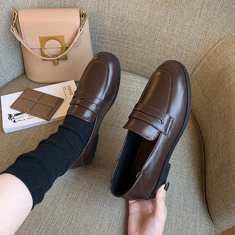 2020秋季新款小皮鞋粗跟女鞋复古黑色软皮高跟单鞋英伦风乐福鞋