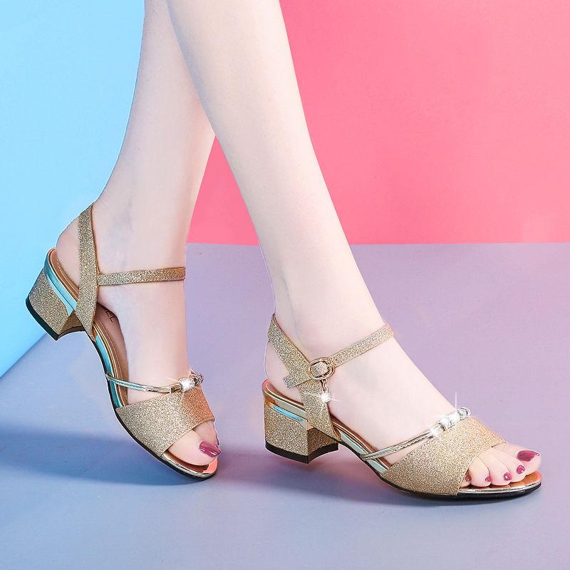 凉鞋女2020夏季新款百搭时尚粗跟女鞋韩版露趾女士一字扣高跟鞋