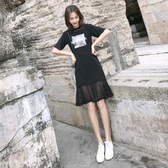 欧洲站新款洋气连衣裙女夏气质轻熟风厌世风v领宽松有气质的裙子