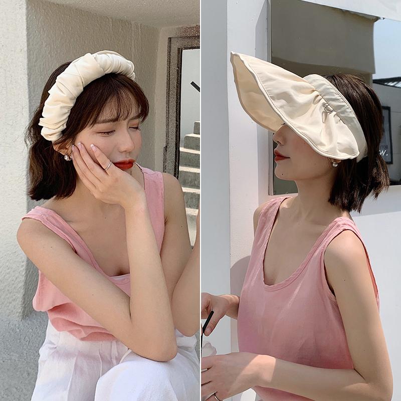 发箍女夏天遮阳帽防晒防紫外线发卡大檐网红2021年新款帽子夏季